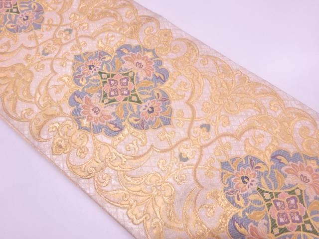 小森織物製 花唐草模様織出し袋帯【リサイクル】【中古】