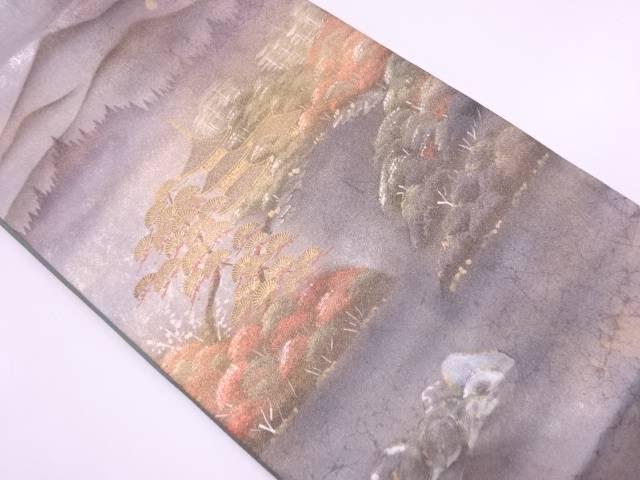 引箔京風景模様袋帯【リサイクル】【中古】