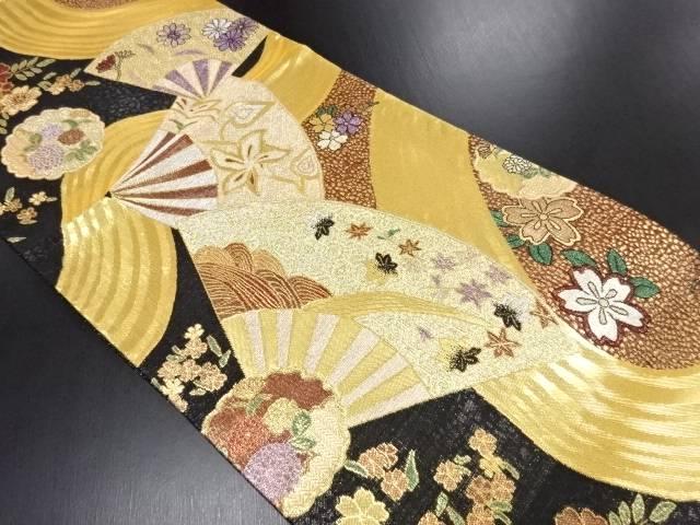 未使用品 金糸扇に花模様織り出し袋帯【リサイクル】【中古】
