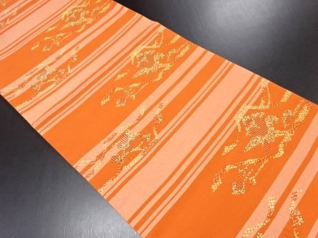抽象枝花模様織り出し袋帯【リサイクル】【中古】