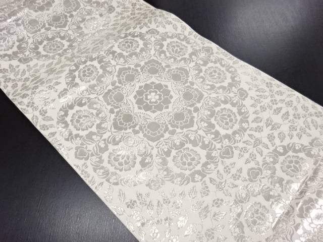 プラチナ箔華紋織り出し袋帯【リサイクル】【中古】