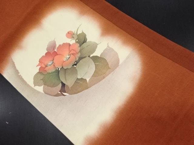 作家物 手織り節紬花模様名古屋帯【リサイクル】【中古】