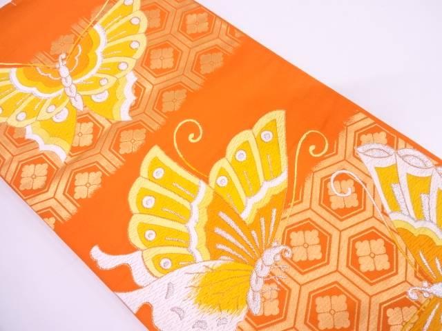 未使用品 蝶に亀甲・花模様織出し振袖用袋帯【リサイクル】【中古】