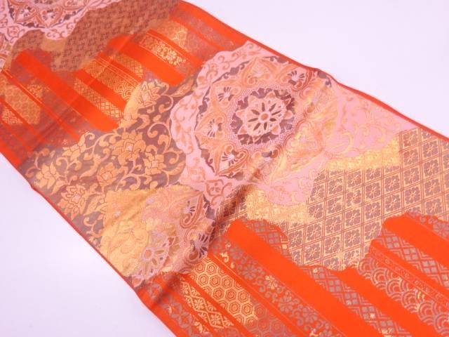 縞に花唐草・古典柄模様織出し袋帯【リサイクル】【中古】