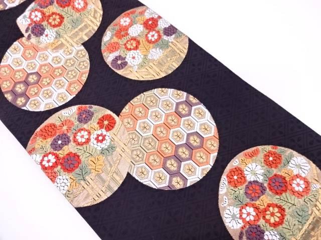 丸紋に亀甲繋ぎ・草花模様織出し袋帯【リサイクル】【中古】
