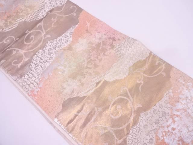 服部織物製 こはく錦古典柄に唐草模様織出し袋帯【リサイクル】【中古】