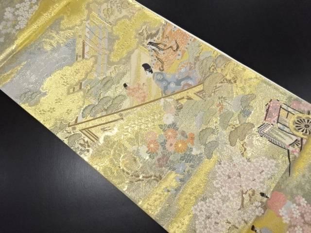 本金箔 屋敷に時代人物模様織り出し全通袋帯【リサイクル】【中古】