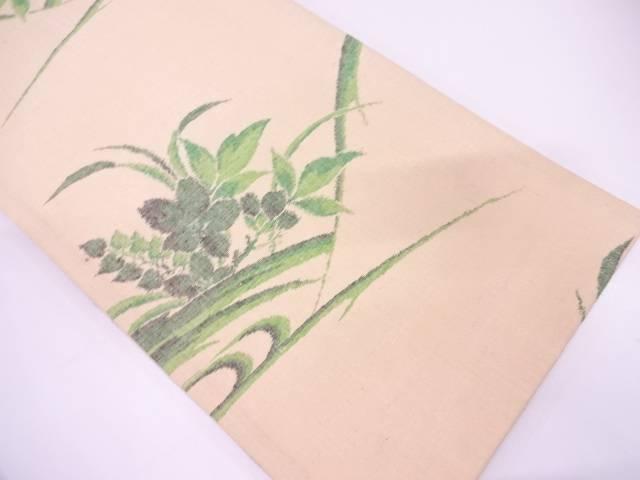 未使用品 手織り紬草花模様織出し袋帯【リサイクル】【中古】