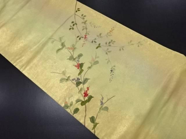 蘇州刺繍 枝の実模様袋帯【リサイクル】【中古】