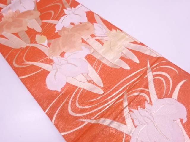 未使用品 紗 流水に菖蒲模様織出し袋帯【リサイクル】【中古】