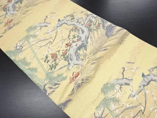 本金水辺之花鳥図織り出し袋帯【リサイクル】【中古】
