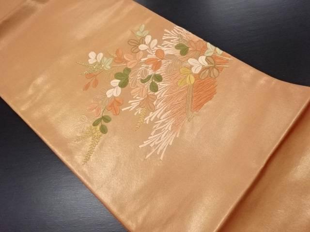 引箔萩に柴垣模様刺繍袋帯【リサイクル】【中古】