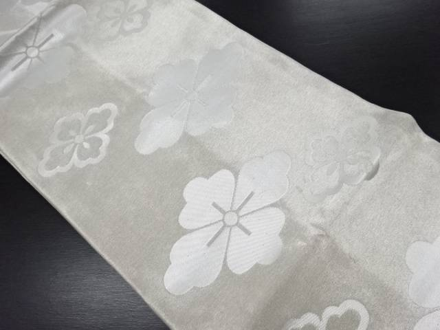 銀糸花菱模様織り出し名古屋帯【リサイクル】【中古】