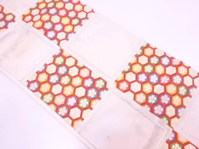 亀甲繋ぎに花模様織出し袋帯【リサイクル】【中古】