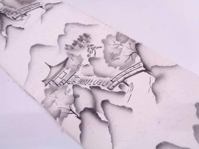 作家物 ひげ紬遠山に寺院風景模様全通袋帯【リサイクル】【中古】