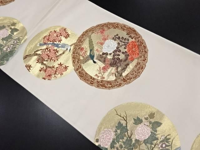 本金丸紋に花鳥模様織り出し袋帯【リサイクル】【中古】