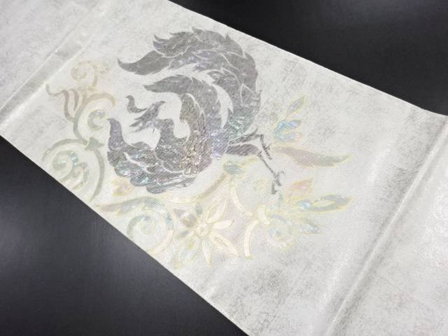 引箔螺鈿鳳凰模様袋帯【リサイクル】【中古】