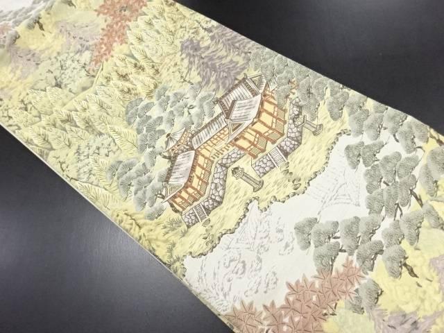 楼閣模様織り出し袋帯【リサイクル】【中古】
