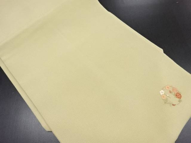 縮緬地花丸紋刺繍名古屋帯【リサイクル】【中古】【09OFF】