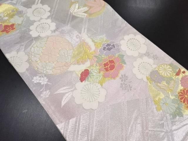 引箔牡丹に蝶模様織り出し全通袋帯【リサイクル】【中古】