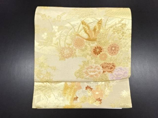 未使用品 本金花鳥模様織出作り帯【リサイクル】【中古】