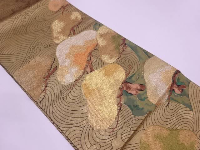 未使用品 荒波に笠松模様織出し袋帯【リサイクル】【中古】