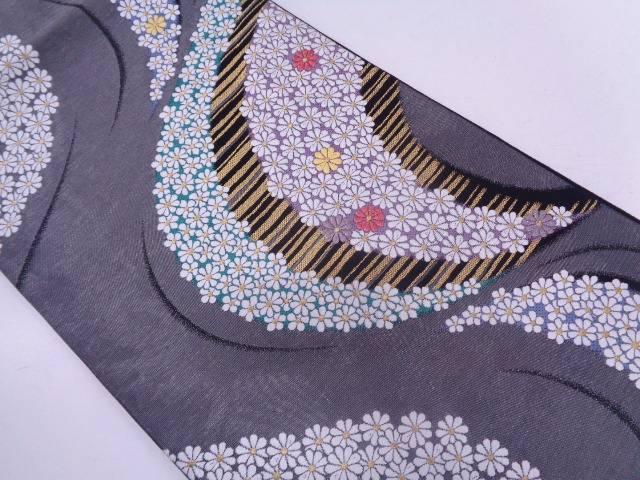 流水に小花模様織出し袋帯【リサイクル】【中古】