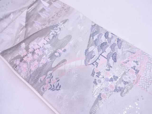 九百錦プラチナ箔屋敷風景模様織出し袋帯【リサイクル】【中古】