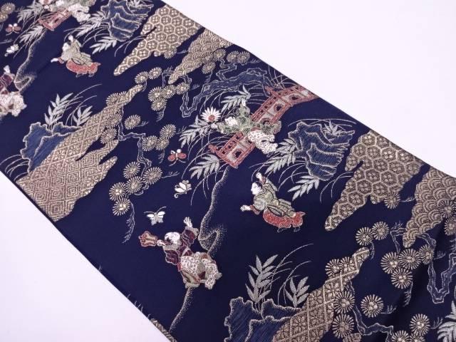 人物に松・古典柄模様織出し袋帯【リサイクル】【中古】