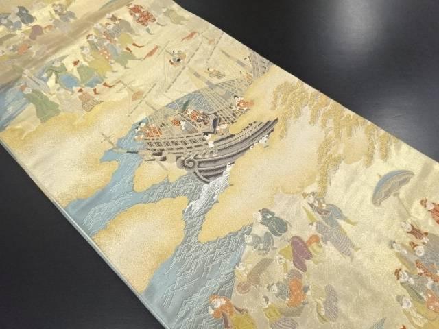 金糸 南蛮船に人物模様織り出し名古屋帯【リサイクル】【中古】