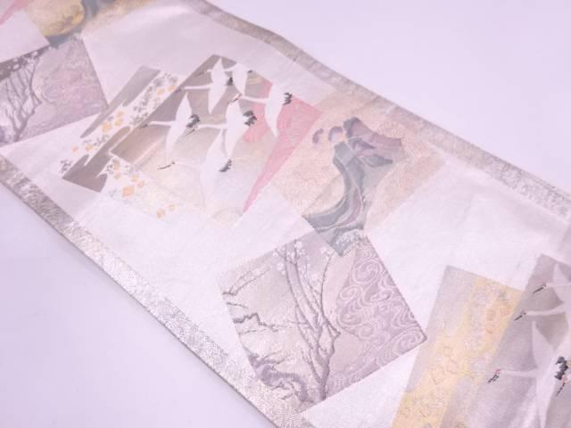 群鶴に枝梅・松模様織出し袋帯【リサイクル】【中古】