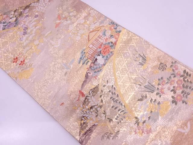 九百本金二重織屋敷に花鳥模様織出し袋帯【リサイクル】【中古】