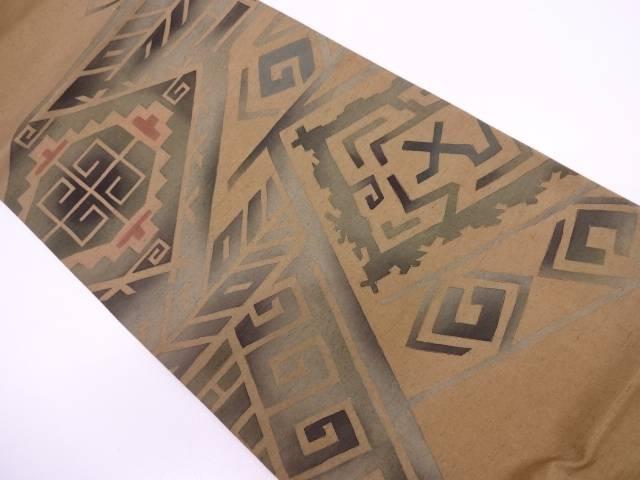 未使用品 手織り紬抽象模様袋帯【リサイクル】【中古】
