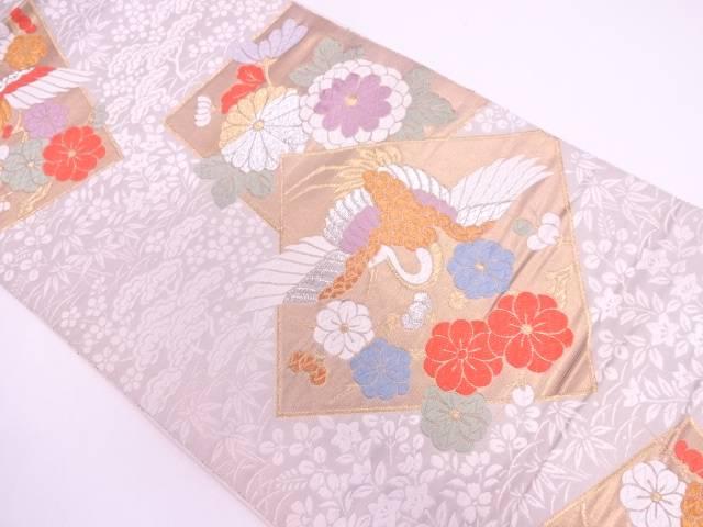 色紙に花喰鶴・草花模様織出し袋帯【リサイクル】【中古】