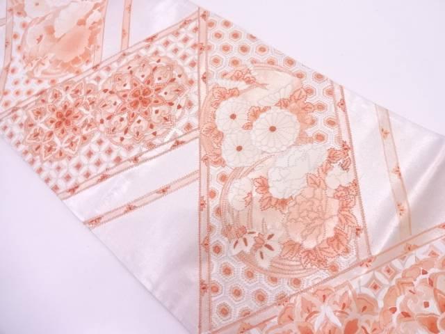 相良刺繍変わり檜垣に花丸文様織出し袋帯【リサイクル】【中古】