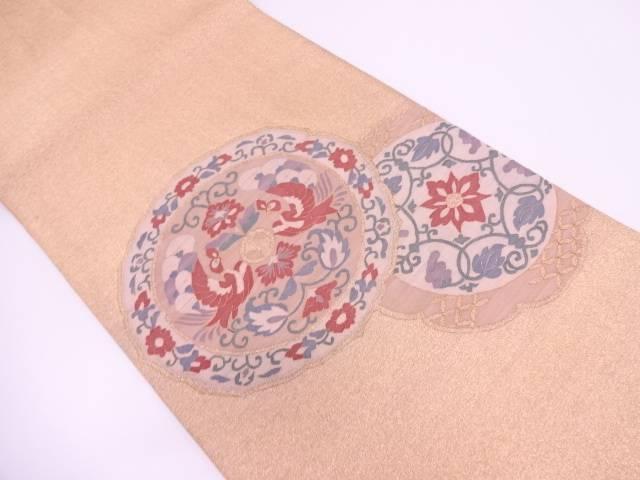 明綴れ絵皿に花鳥模様織出し袋帯【リサイクル】【中古】