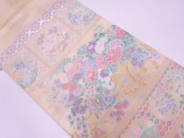 未使用品 真珠螺鈿箔花車模様織出し袋帯【リサイクル】【中古】