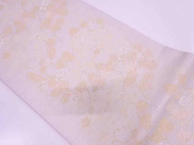 松唐草に桜模様織出しリバーシブル全通袋帯【リサイクル】【中古】