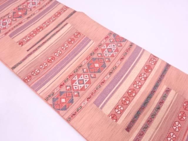 紗 変わり横段に幾何学模様織出し袋帯【リサイクル】【中古】