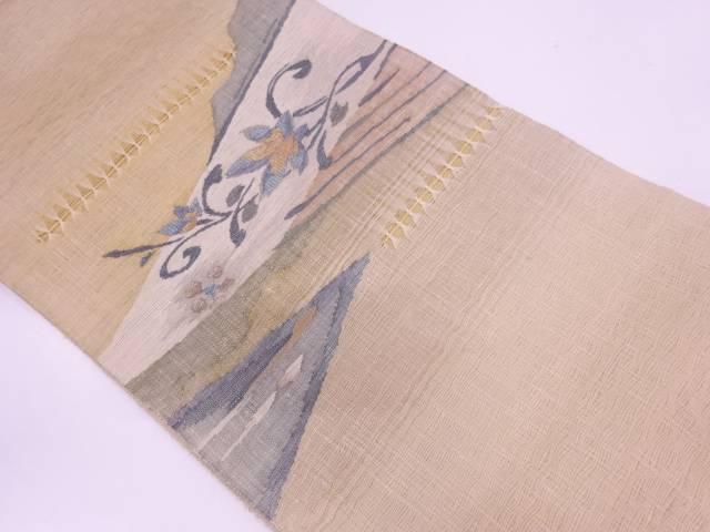 すくい織草花模様織出し袋帯【リサイクル】【中古】