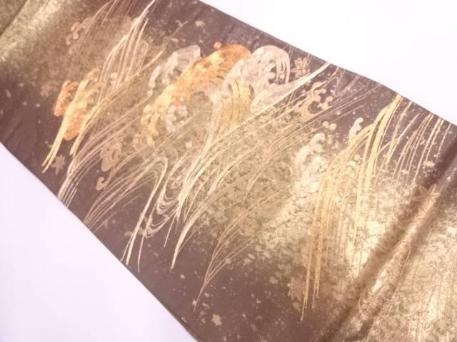荒波に楓模様刺繍袋帯【リサイクル】【中古】