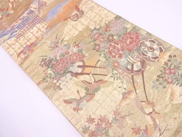 花車に鶴模様織出し袋帯【リサイクル】【中古】【09OFF】