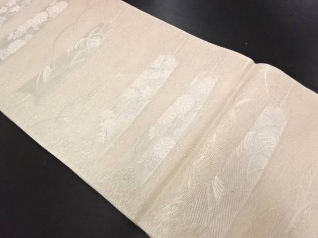 紗 矢羽根に秋草模様織り出し袋帯【リサイクル】【中古】