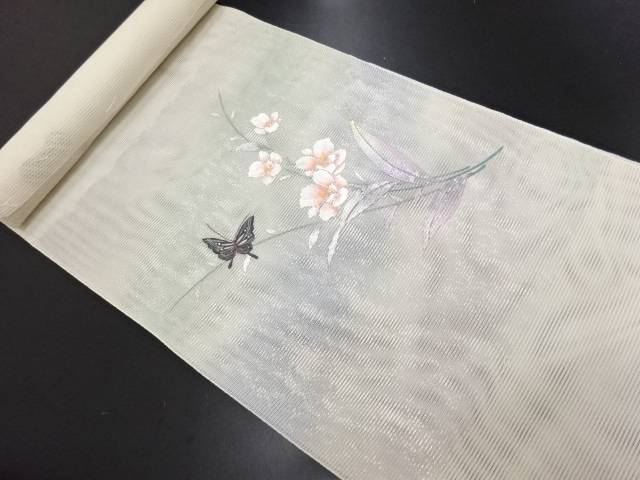 一ノ瀬織物製 紗 箔置き 花に蝶模様刺繍名古屋帯地反物【新品】