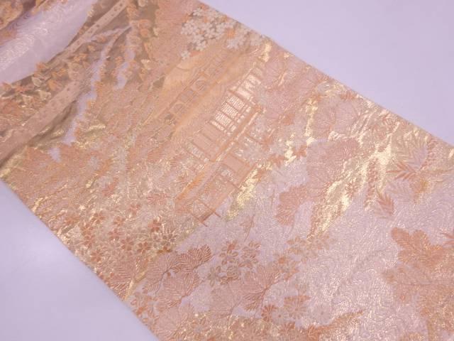 じゅらく製 金閣箔京風景模様織出し袋帯【リサイクル】【中古】