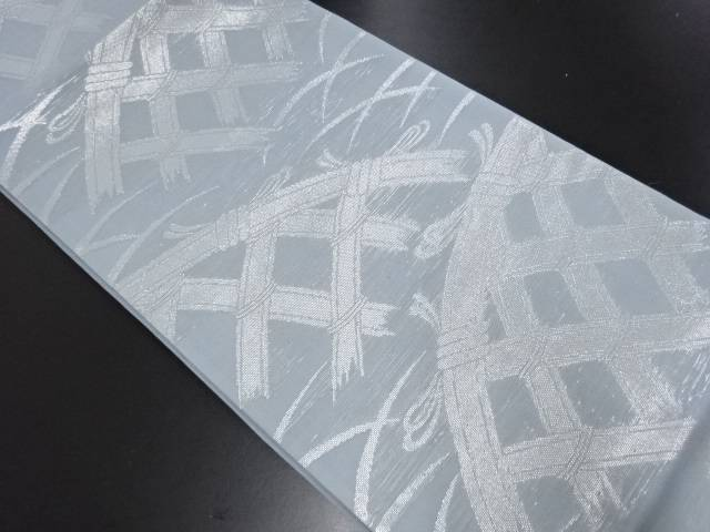紗 銀糸 蛇籠模様織り出し袋帯【リサイクル】【中古】