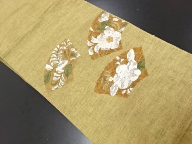 手織り紬 地紙に辻ヶ花模様名古屋帯【リサイクル】【中古】