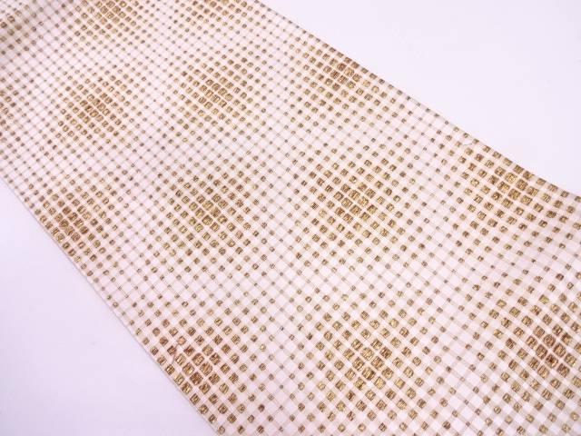 格子に菱模様織出し袋帯【リサイクル】【中古】