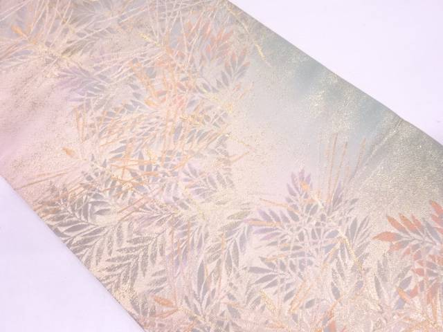 松に草葉模様織出し暈し袋帯【リサイクル】【中古】
