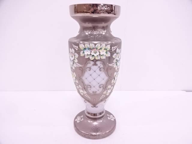 ベネチアングラス エンボス花文フラワーベース